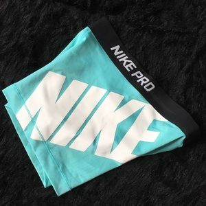 Women's Nike Pro Teal Spandex Compression Shorts